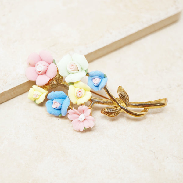 Vintage Porcelain Pastel Flower Bouquet Brooch, 1950s