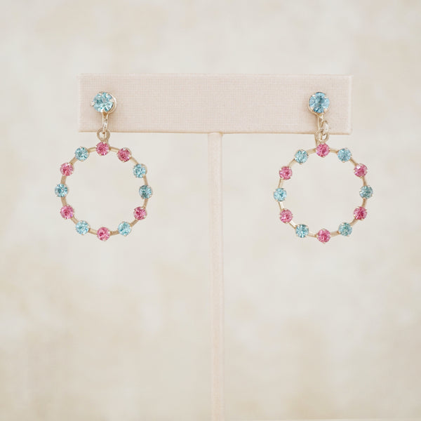 Vintage Pink & Blue Rhinestone Dangle Earrings