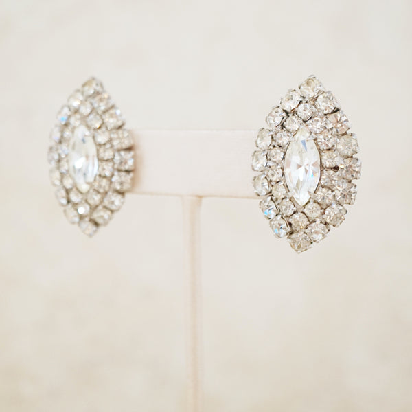 Vintage Marquise Rhinestone Statement Earrings, 1950s