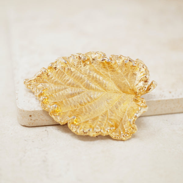 Vintage Mid Century Gilded Leaf Brooch by Napier, 1940s