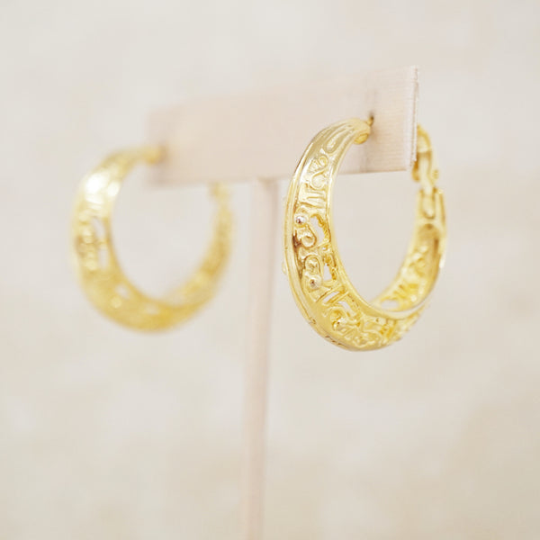 Vintage Gold Filigree Hoop Earrings by Goldette, 1970s