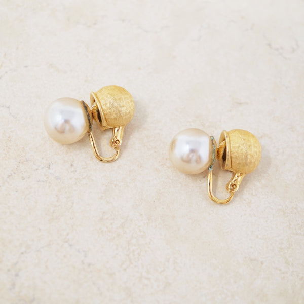 Silver Pearl Double Sided Earrings