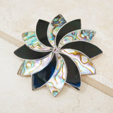 Vintage Taxco Sterling Silver Brooch with Abalone and Onyx Inlay