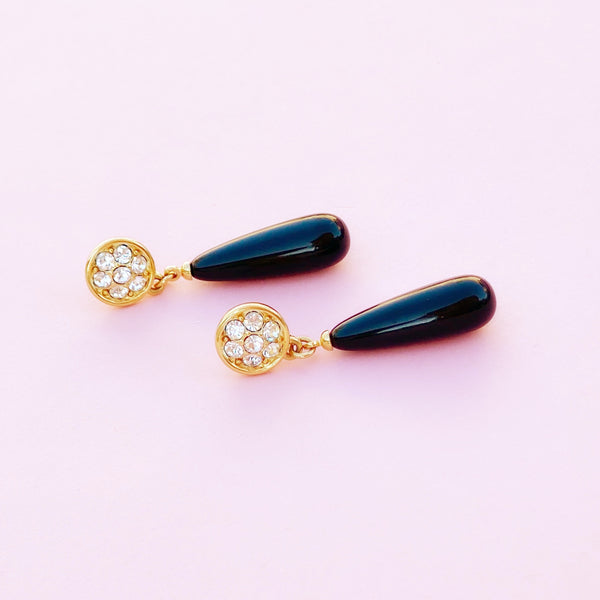 Vintage Gilt & Crystal Rhinestone Earrings with Faux Onyx Drop By Monet, 1980s