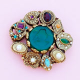 Vintage Gilded Victorian Revival Brooch with Green Glass Cameo Attributed To Goldette, 1960s