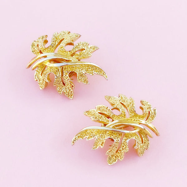 Vintage Brutalist Style Gilded Leaf Climber Earrings By Crown Trifari, 1960s