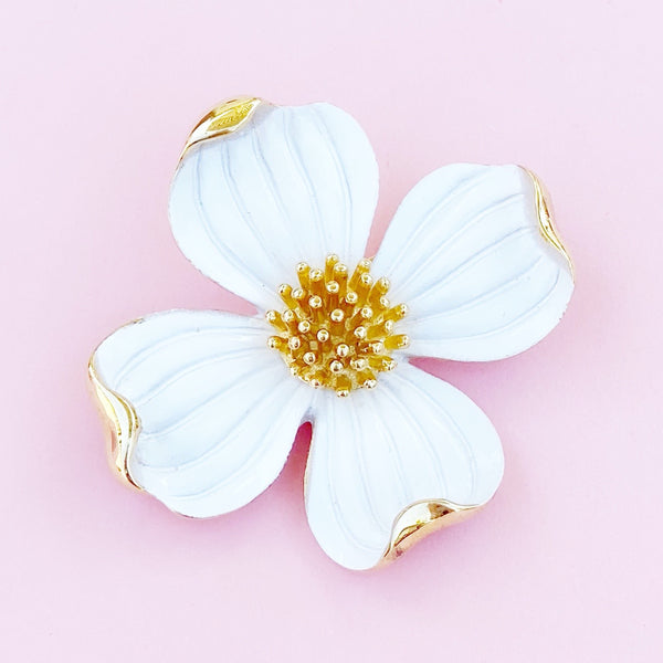 Vintage Gilt & White Enamel Dogwood Flower Figural Brooch By Crown Trifari, 1960s