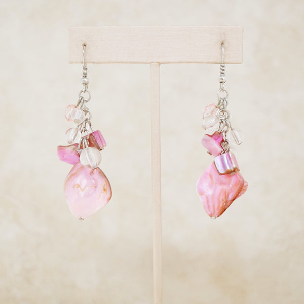 Vintage Pink Seashell Cluster Dangle Earrings, 1990s