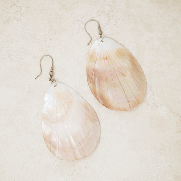 Vintage Shimmery Seashell Statement Earrings, 1980s