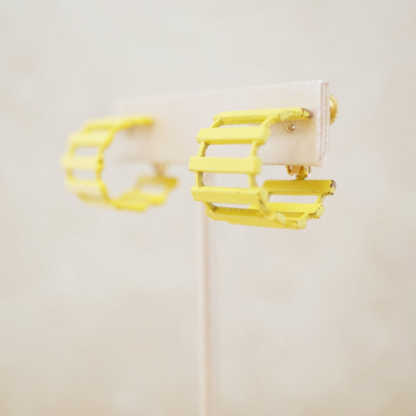Vintage Yellow Ladder Hoop Earrings by Napier, 1970s