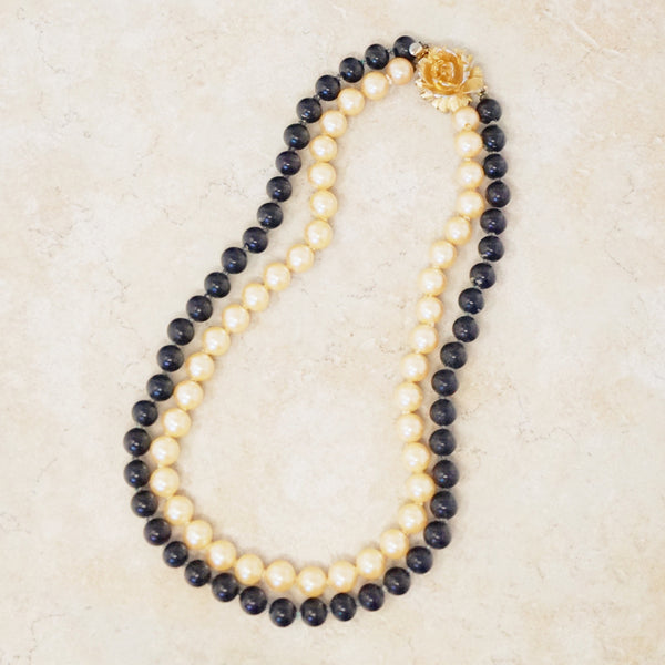 Black & Champagne Pearl Choker Necklace