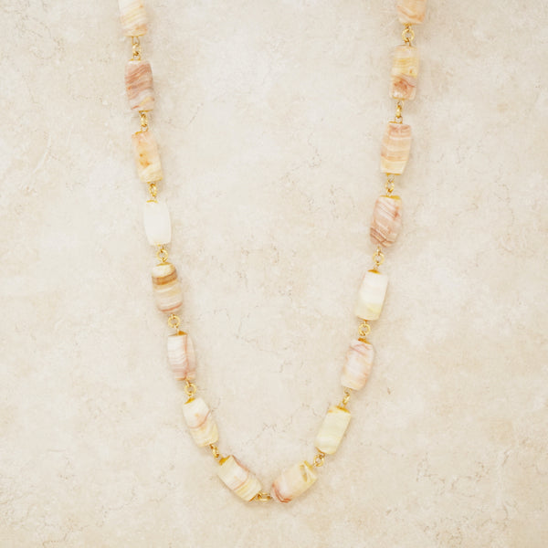 Vintage Striped Agate Gemstone Necklace, 1970s