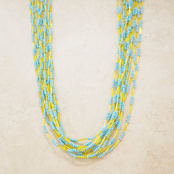 Vintage Chartreuse & Turquoise Twelve Strand Beaded Necklace, 1970s