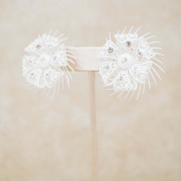 Vintage White Plastic Flower Earrings with Rhinestones, 1960s