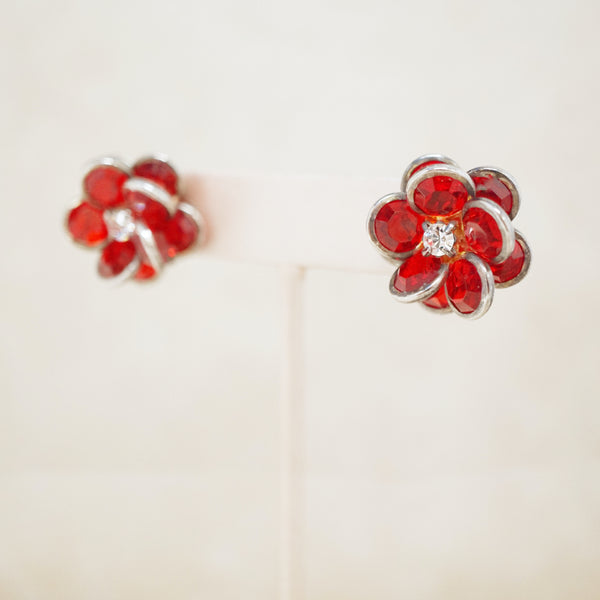Vintage Ruby Red Swarovski Crystal Cluster Flower Earrings, 1950s