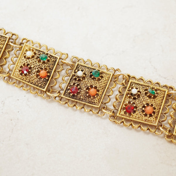 Vintage Scalloped Link Statement Bracelet with Rhinestones, 1960s