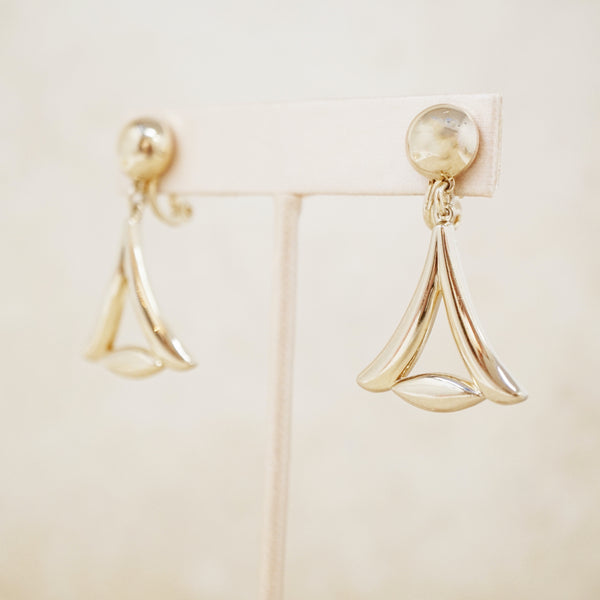 Vintage Gilded Triangle Dangle Earrings by Monet, 1940s