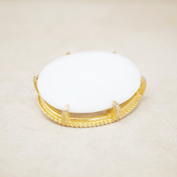 Vintage Faceted Milk Glass Brooch, 1960s