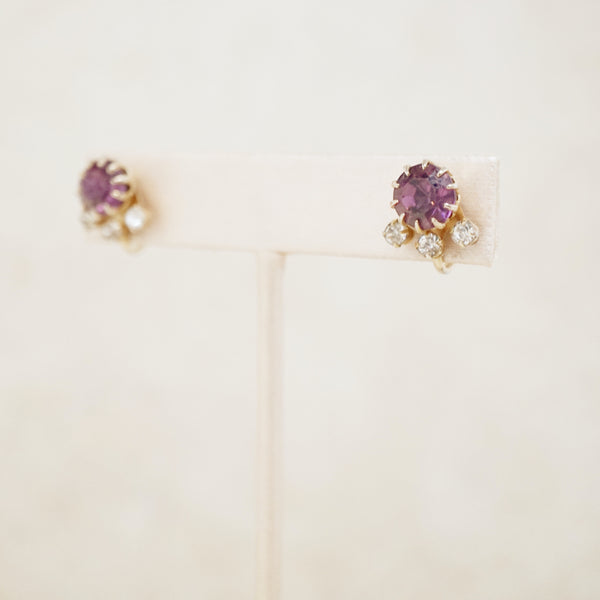 Vintage Amethyst Crystal Rhinestone Earrings, 1950s