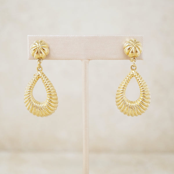 Vintage Gilded Scalloped Teardrop Dangle Earrings by Coro, 1960s