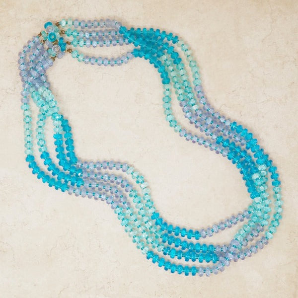 Vintage Four Strand Shades of Blue Beaded Necklace, 1960s