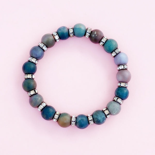 Indian Agate Gemstone Rondelet Bracelet