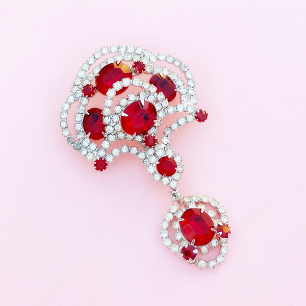 Vintage Rhodium Plated Ruby Red Crystal Brooch By Kramer, 1940s