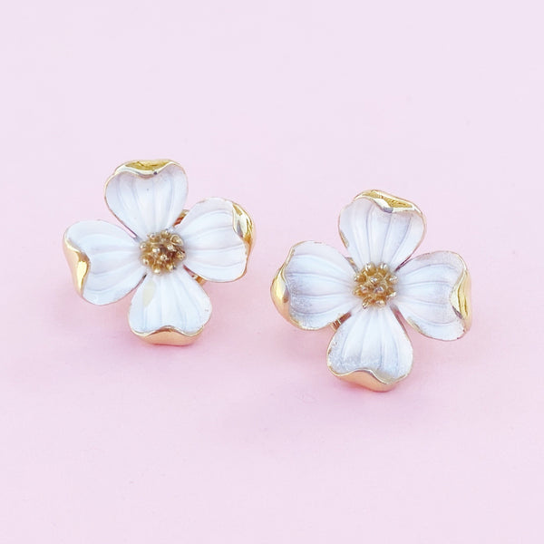 Vintage Gilt & White Enamel Dogwood Flower Figural Earrings By Crown Trifari, 1960s