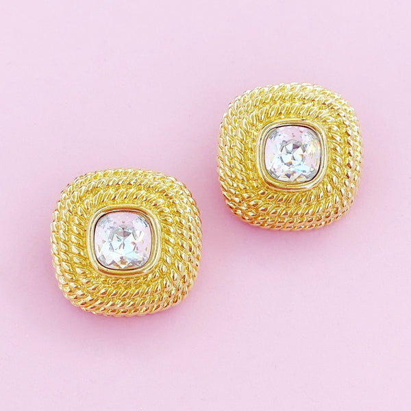 Vintage Gilt Braided Texture Swarovski Crystal Earrings By Swarovski, 1980s