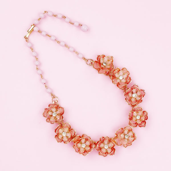 Layered Pink Enamel Flower Figural Choker Necklace, 1950s