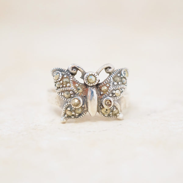 Sterling Silver & Marcasite Butterfly Ring