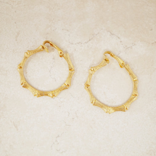 Vintage Gold Bamboo Hoop Earrings, 1970s