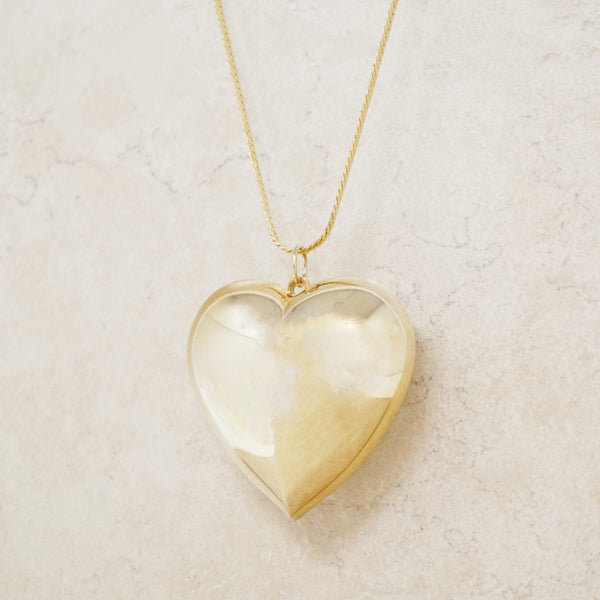 Vintage Puffy Gold Heart Pendant Necklace, 1980s