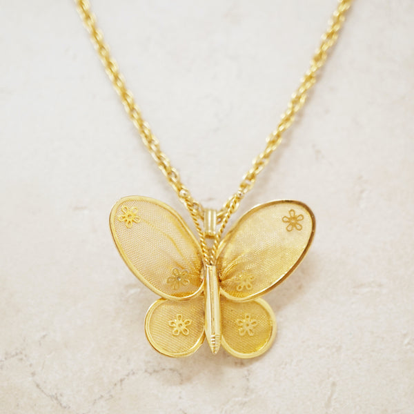 Vintage Golden Mesh Butterfly Necklace, 1960s