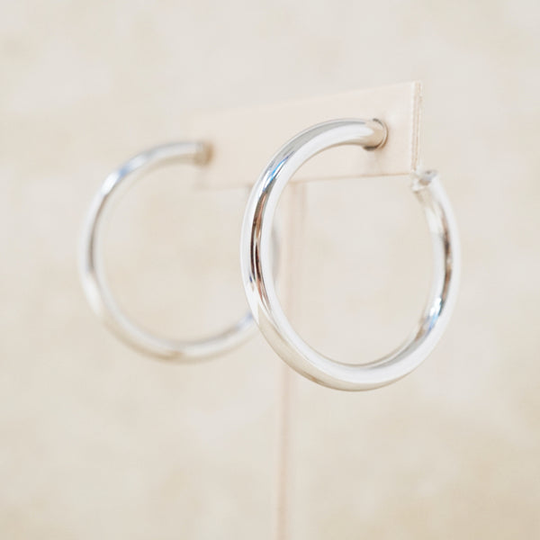 Vintage Silver 1960s Tubular Hoop Earrings