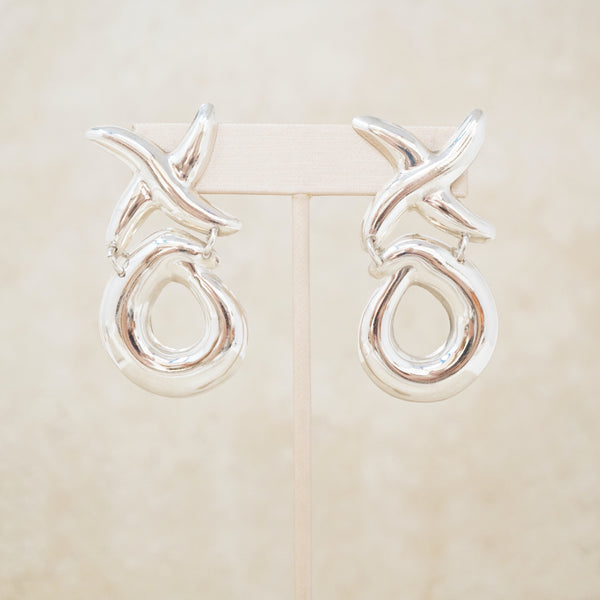 Vintage Sterling Silver XO Door Knocker Statement Earrings, 1970s