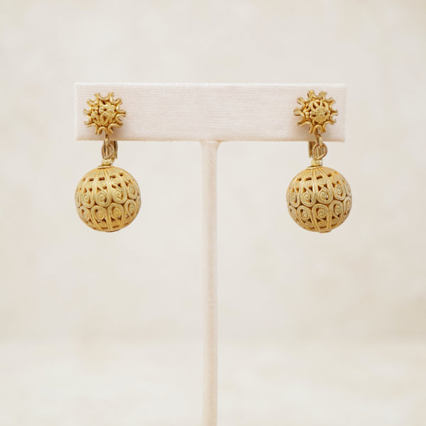 Vintage Ornate Golden Ball Dangle Earrings by Miriam Haskell, 1950s