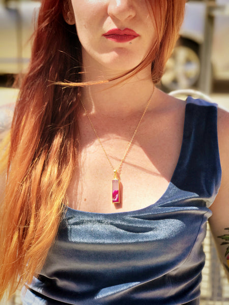 Gemstone Pendant Necklace (Pink Agate)