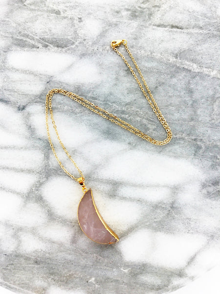 Gemstone Moon Necklace (Rose Quartz)