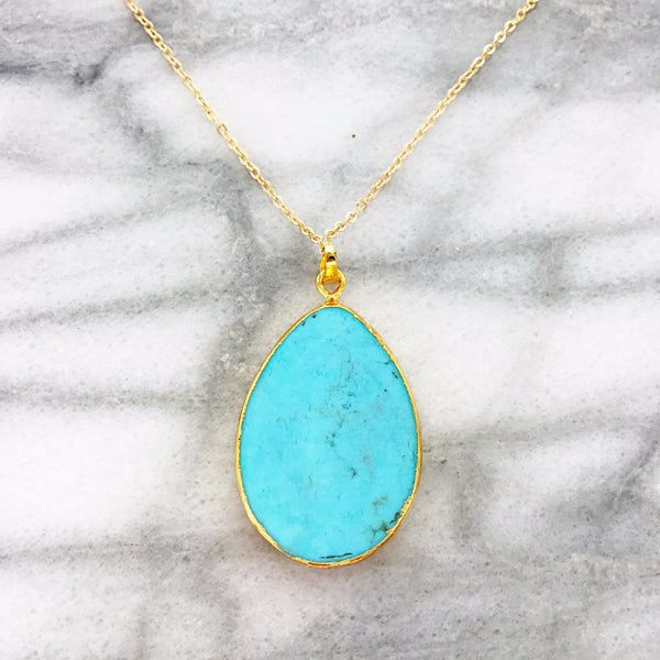 Gemstone Teardrop Necklace (Turquoise)