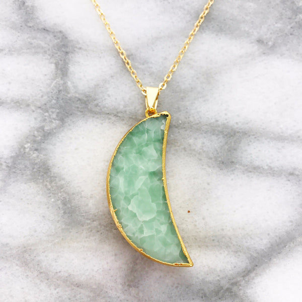 Gemstone Moon Necklace (Jade Quartz)