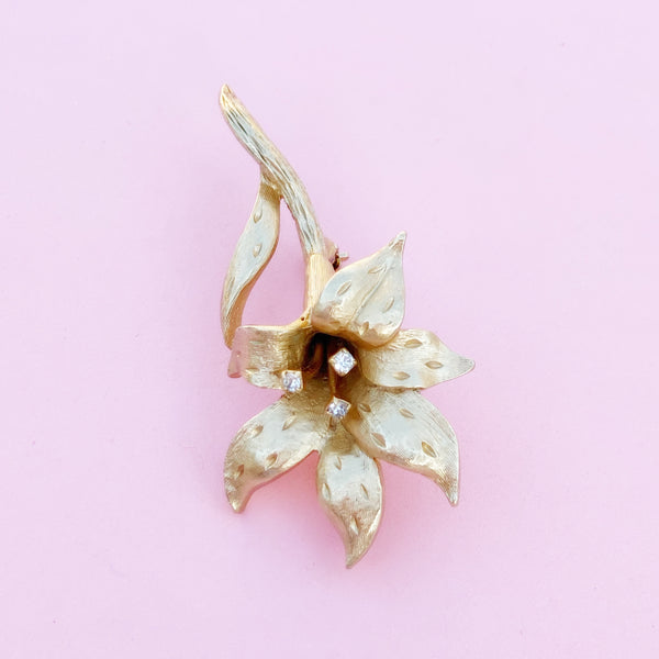 Vintage Gilded Lily Flower Figural Brooch with Crystal Rhinestones by Erwin Pearl, 1990s