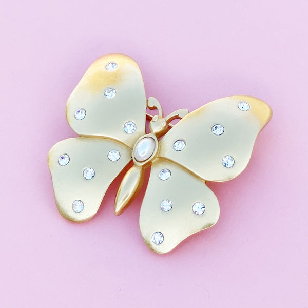 Vintage Gilded Butterfly Figural Brooch with Crystal Rhinestones by Carolee, 1980s