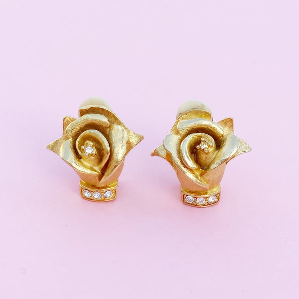 Vintage Gilded Rosebud Figural Earrings with Crystal Rhinestones by Erwin Pearl, 1990s