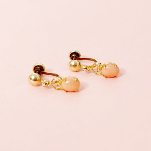 Vintage 12k Gold Filled Angel Skin Coral Drop Earrings By Sorrento, 1940s