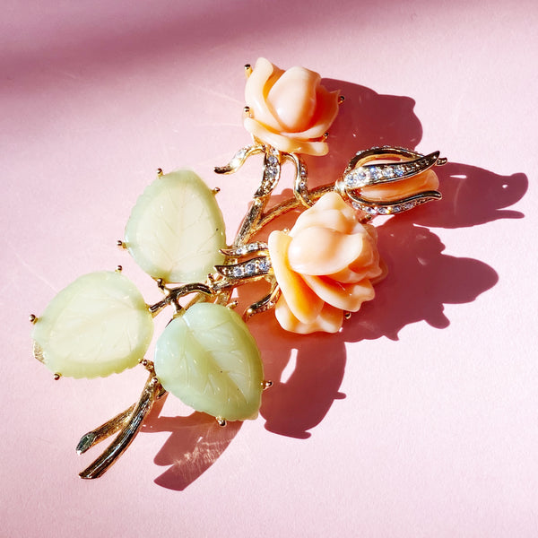 Vintage Oversized Gilt Figural Roses Brooch with Faux Coral & Jade by Nolan Miller, 1990s