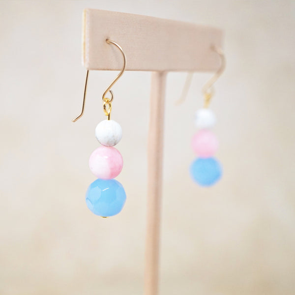 "Angelite, Pink Jade & Howlite ""Trois"" Earrings"