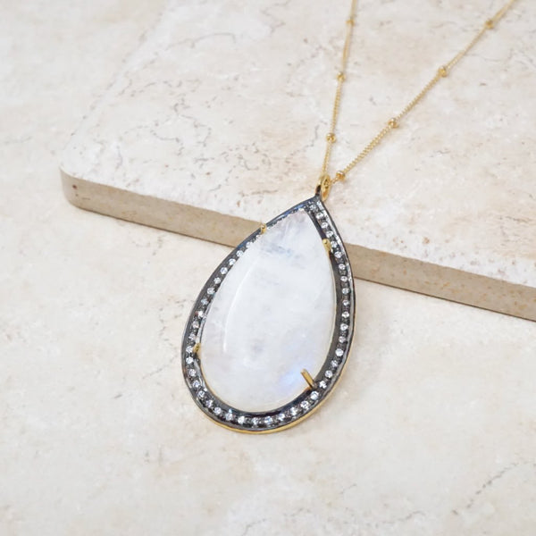 Rainbow Moonstone Teardrop Necklace with Sapphire Pavé