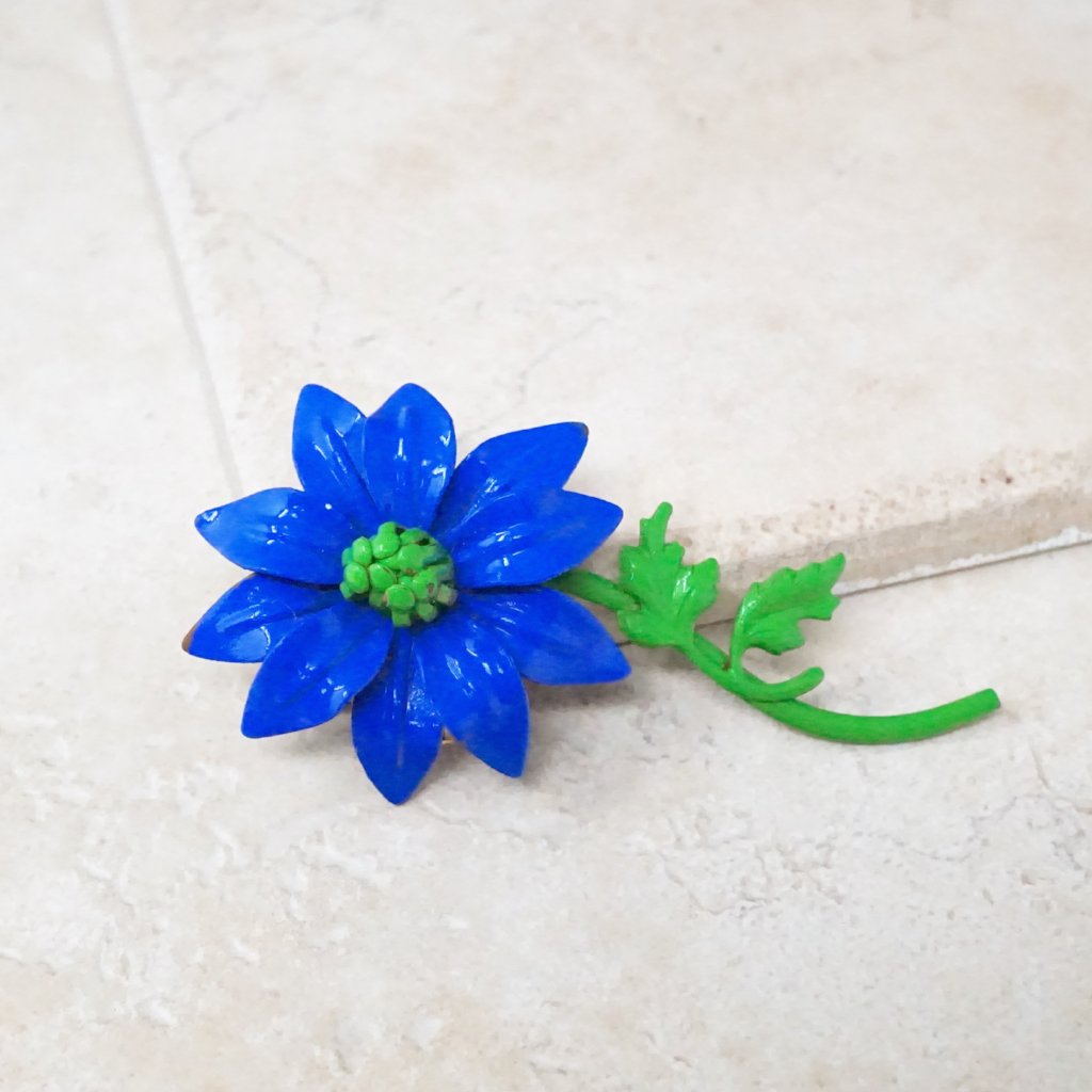 Blue Columbine Flower Brooch