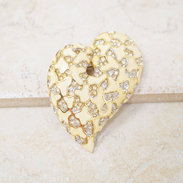 Rhinestone Heart Brooch by Jomaz